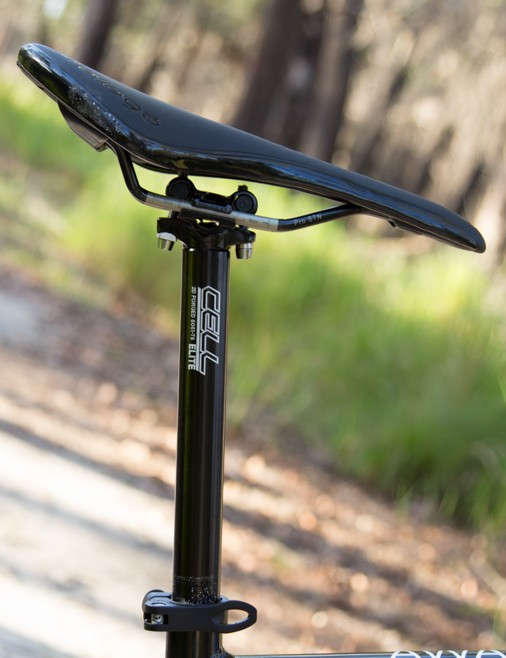 Cell's own twin-bolt seatpost offers a secure hold of the saddle rails