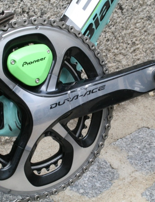 A Pioneer power meter in the Shimano Dura-Ace cranks