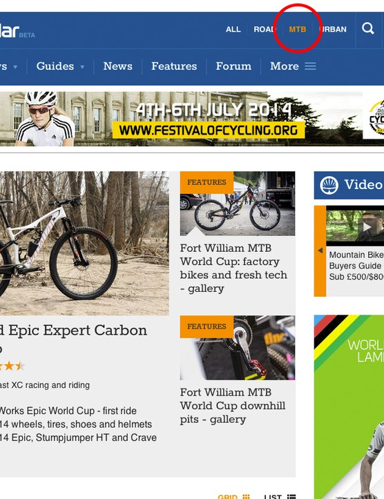 Sick of seeing pictures of roadies when all you care about is mountain bikes? Click MTB and set bikeradar.com/mtb as your homepage
