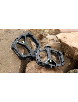 The RaceFace Atlas pedals are impressively thin with angled pins that promise excellent grip