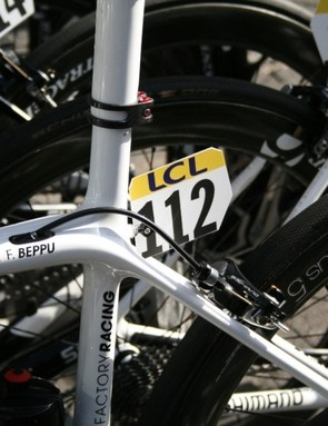 Trek Factory racing's bikes – even on this still-to-be-named bike – have a dossard holder that's braised on before it is shipped to the team