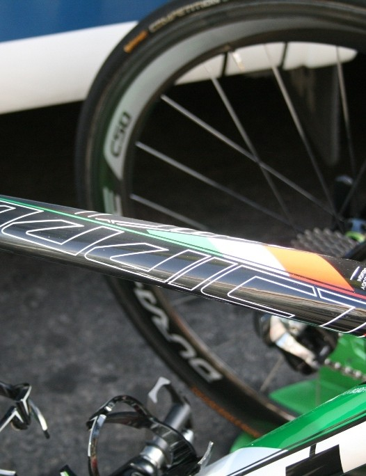 Ivan Santoromita (Orica-GreenEdge) has tricolore colours on his frame to celebrate last year's Italian national championship win