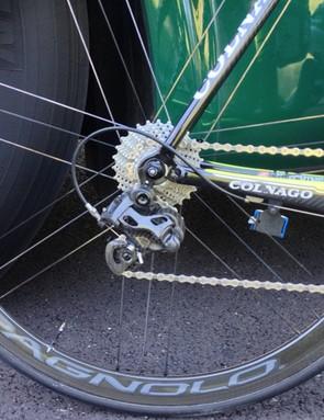 The new Campagnolo rear derailleur on Sicard's bike