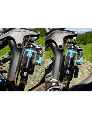 Side by side, DH and XC modes - the knuckle link is moved by the piston to alter the suspension's kinematics