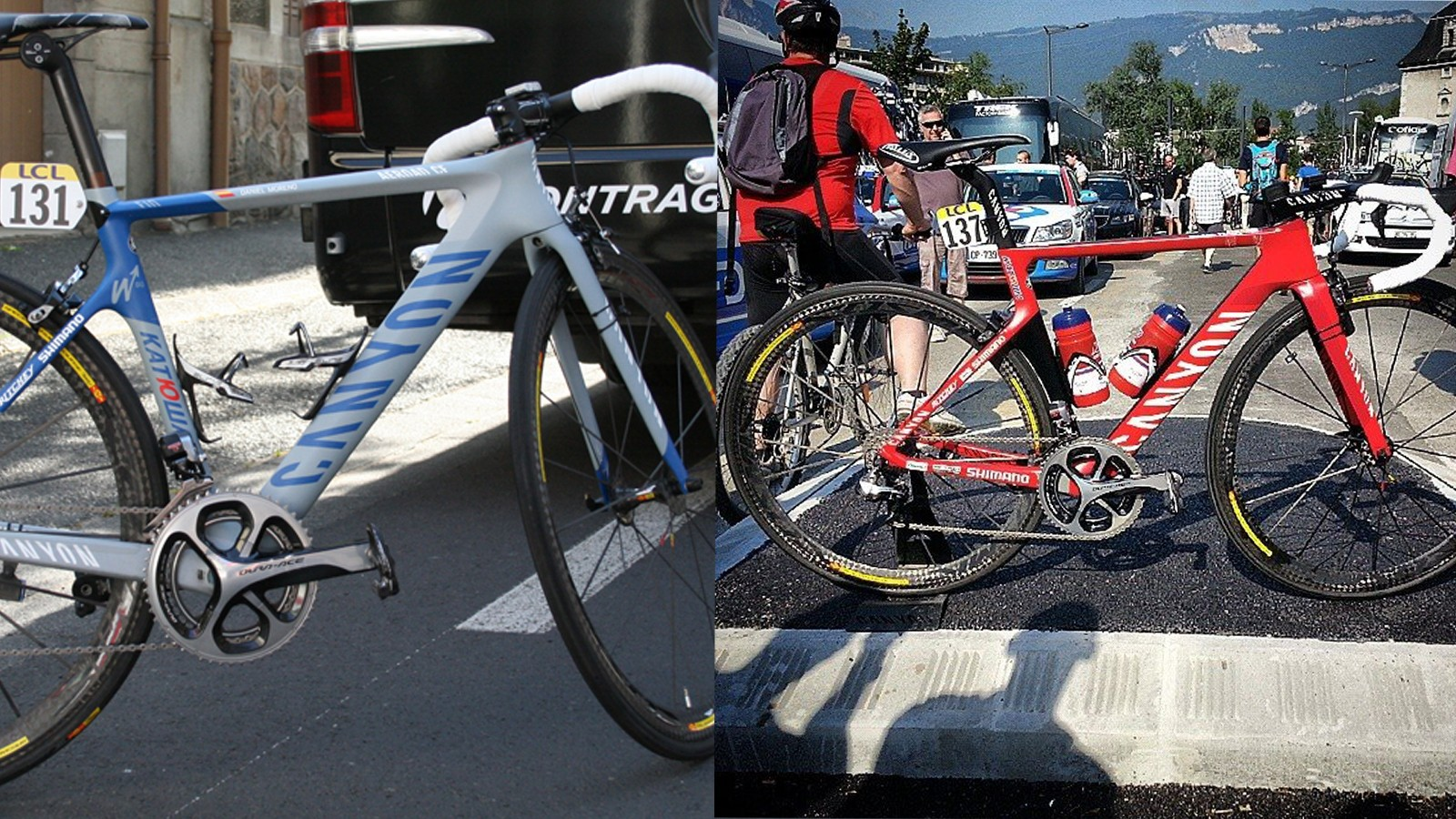 The current Aeroad CF at left and the Aeroad SLX at right