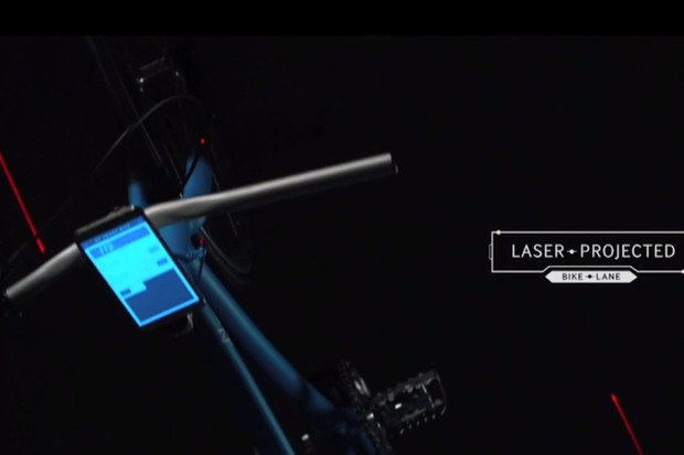Samsung laser projected bike lane