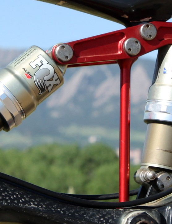 Former Kestrel racer Kurt Stockton was able to nearly double the rear wheel travel of his Rubicon Comp by replacing the rigid rear link with a second shock. Note, too, how the only external adjustment on tap aside from air pressure is rebound damping - and only on one of two Fox ALPS 4 units