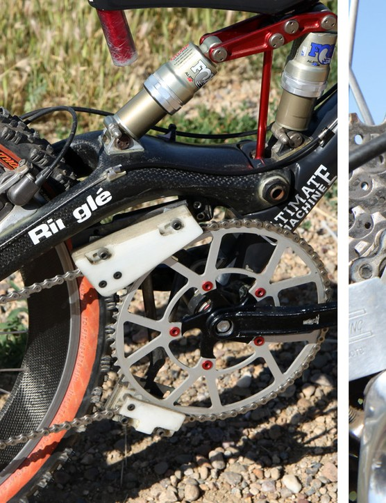 The stock rear swingarm couldn't hold up to the forces of downhill racing so Kestrel handmade another one with a burlier lay-up