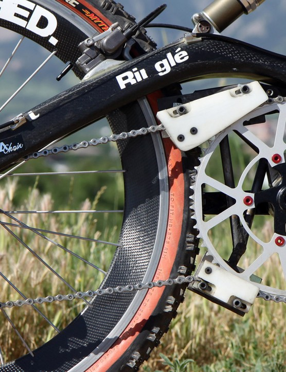 The Shimano XTR 12-30T cassette is matched to a ludicrously huge 63T chainring