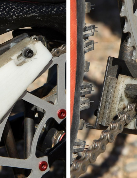 The upper and lower chain guides were hand machined out of blocks of nylon