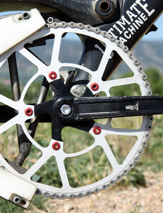 One can only imagine the amount of flex possible with such a giant (and thin!) chainring mounted to a 110mm-diameter spider