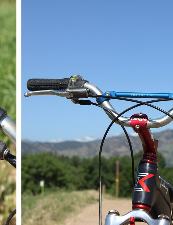 The custom 3T aluminum riser bar is just 620mm wide