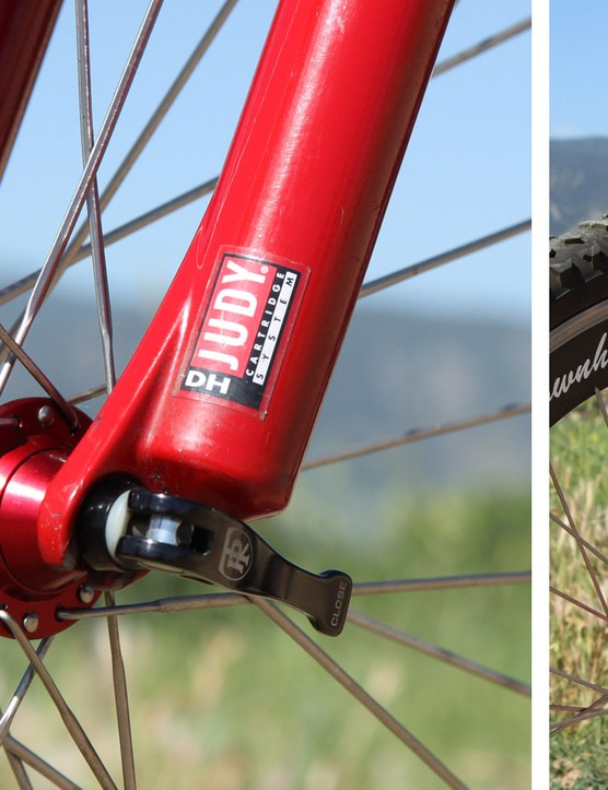While there was about eight inches of travel available out back, it was matched with just half that amount up front courtesy of an early RockShox Judy DH. Inside each 28mm-diameter aluminum leg was a stack of MCU bumpers, plus a single oil cartridge damper in the left leg. Both wheels were secured with quick-release skewers: Ringlé ones, not the Ritchey ones shown here