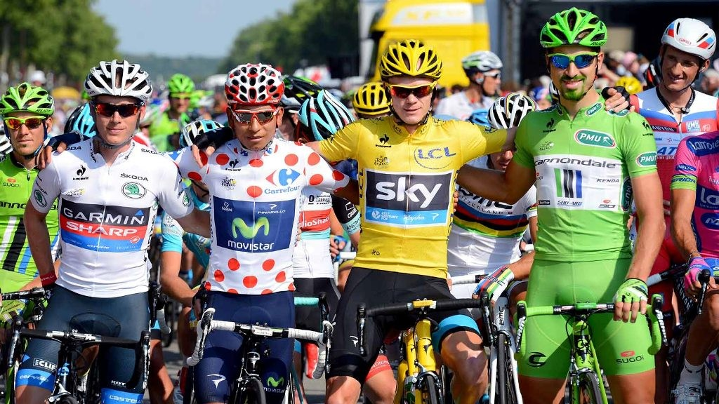 All the 2013 jerseys together. L-R: Andrew Talansky (Garmin-Sharp), Nairo Quintana (Movistar), Chris Froome (Sky), Peter Sagan (Cannondale)