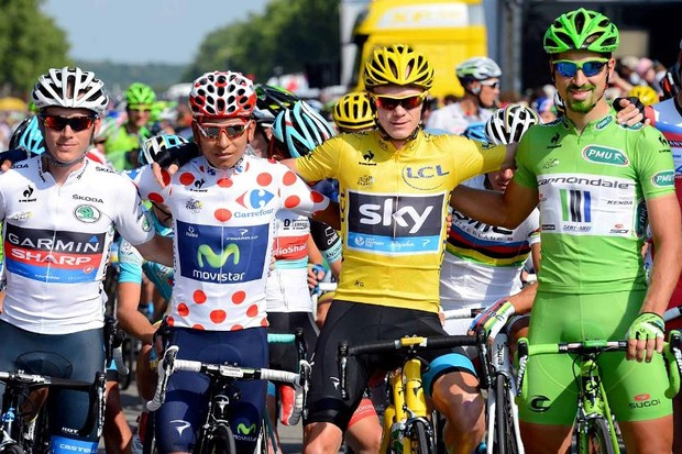 All the 2013 jerseys together. L-R: Andrew Talansky (Garmin-Sharp), Nairo Quintana (Movistar), Chris Froome (Sky), Peter Sagan (Cannondale)