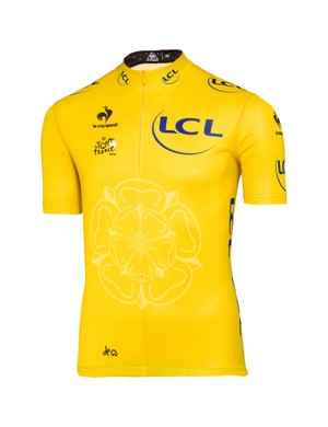 The Tour de France yellow jersey, with the white rose of Yorkshire emblem
