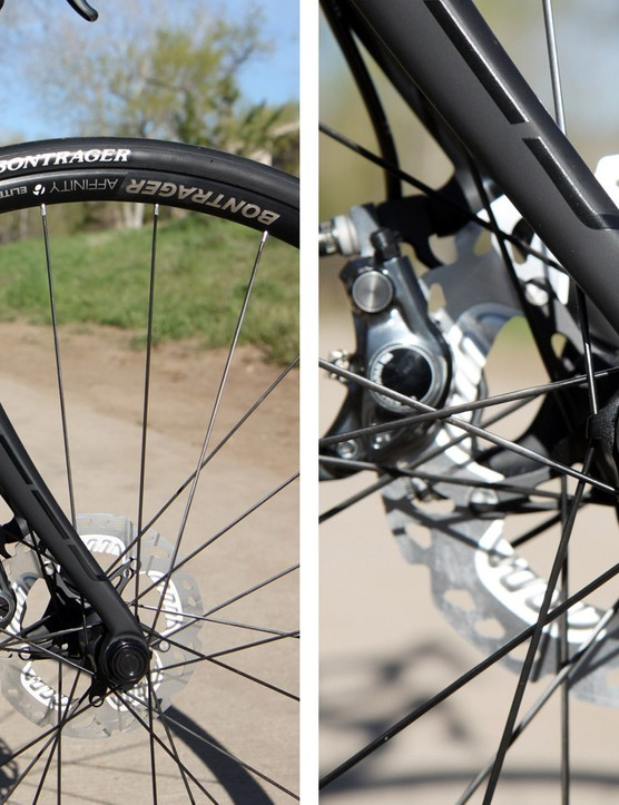 The IsoSpeed fork uses unusually forward-swept blades, which provides more of a leaf spring effect on bumps. The dropouts reach slightly rearward, however, in order to maintain a standard offset
