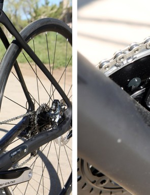 Sitting at the base of the flared and ovalized seat tube is Trek's integrated chain catcher. Note the generously proportioned 90mm-wide bottom bracket shell, too