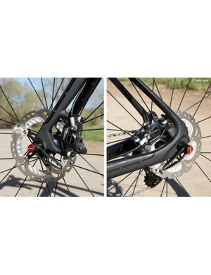 160mm-diameter rotors come standard on the Trek Domane but both ends are compatible with 140mm discs
