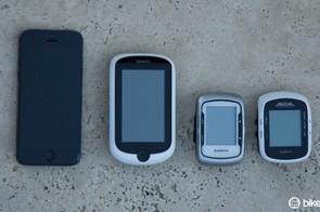 From left to right: Apple iPhone5, Magellan Cyclo505, Garmin Edge 500 and Magellan Cyclo105