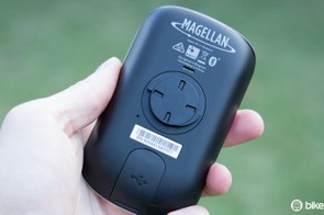 The Magellan Cyclo505 uses a quarter-turn mount similar to Garmin's. The unit will fit into a Garmin mount, but it's not a perfectly snug fit