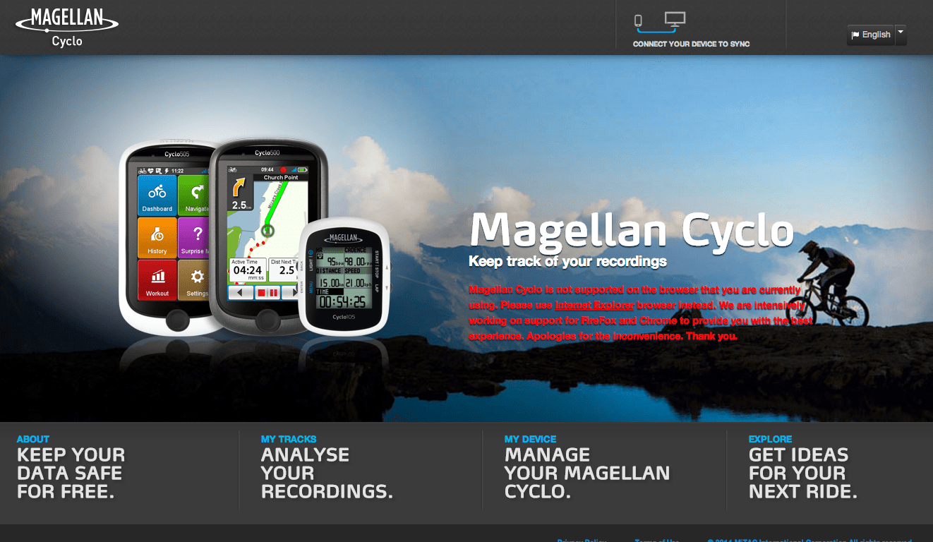 MagellanCyclo.com offers plenty of features and allows the Cyclo505 to sync through WiFi - just don't try use it on Firefox or Google Chrome