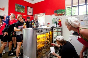 The Uki pie shop was packed full of hungry riders