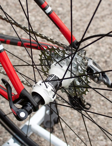 The rim-brake Cayo uses standard quick-release skewers