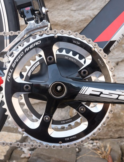 The majority of the shifting is handled by Ultegra Di2, but with an FSA Gossamer 50/34 chainset