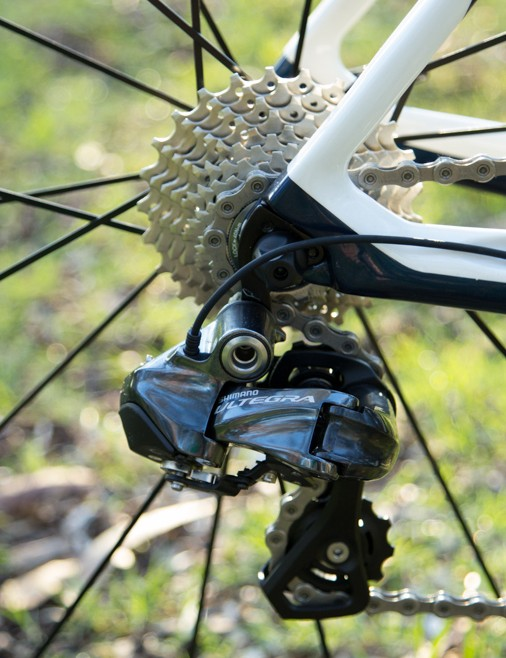 Shimano's Ultegra Di2 11-speed is near impossible to fault. A slightly larger range cassette would be our only change