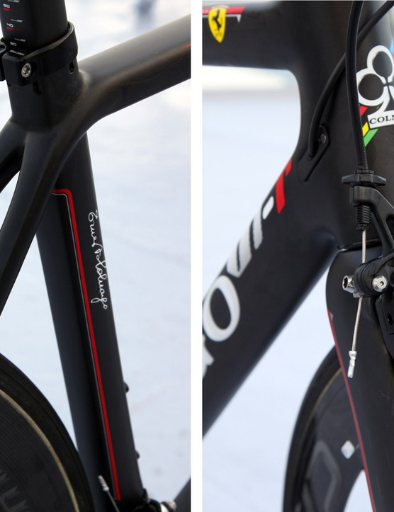 One of the defining features of the Colnago V1-r is the direct-mount brake interface. The rear brake has also been moved down below the chain stays, all in the name of better aerodynamics and improved braking performance
