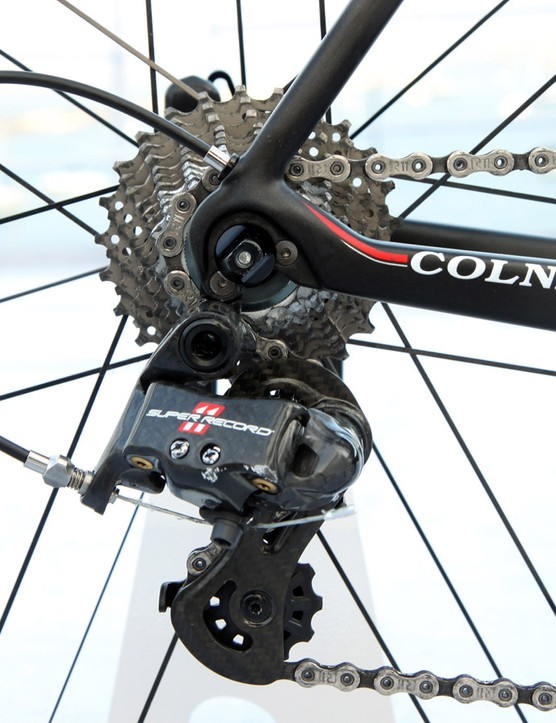 The aluminum replaceable rear derailleur hanger is intentionally designed to break on impact in order to save the carbon dropouts