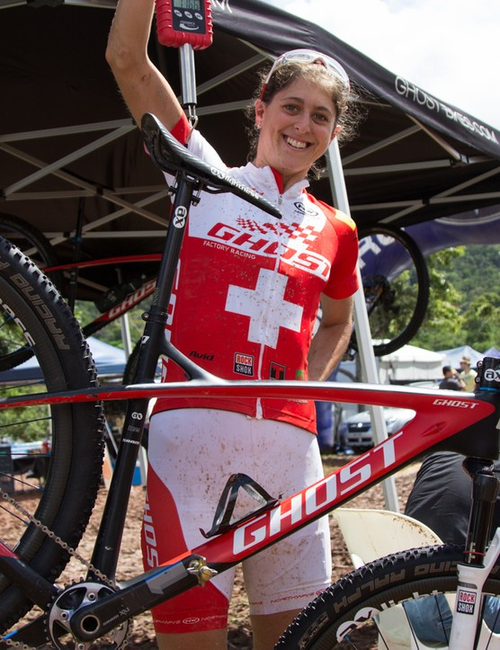 Swiss national champion Katrin Leumann proudly weighs her super light Ghost HTX 29er