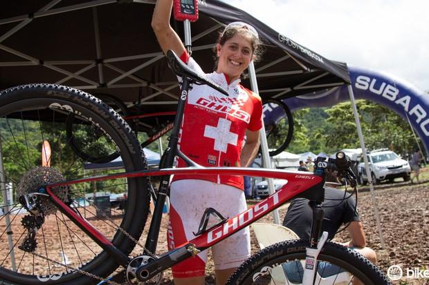 Swiss national champion Katrin Leumann proudly weighs her super light Ghost HTX 29er