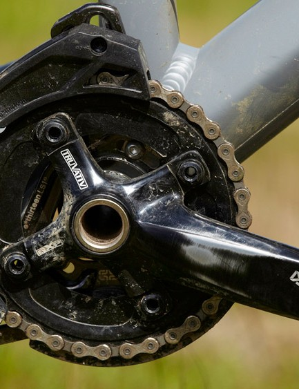 TrackFlip chips in the lower shock mount enable you to raise and lower the bottom bracket height and tweak front-end geometry