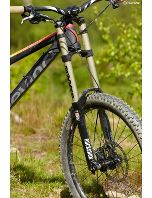 Although the RockShox Boxxer RC fork isn't bad, it lacks support and is outclassed by the Wilson's rear end