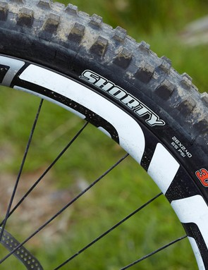 Maxxis' Shorty 3C Maxx Grip compound works just about everywhere, providing confidence-enhancing traction.