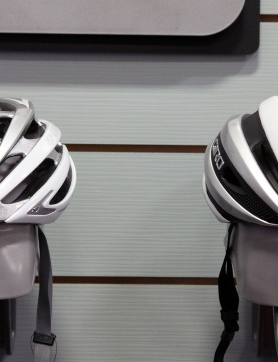 As compared to the Giro Aeon (left), the new Synthe is noticeably more compact with a visually smaller and more compact profile