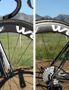 The slim seatstays and well-tuned carbon fork deliver a remarkably smooth ride quality given the deep tube profiles