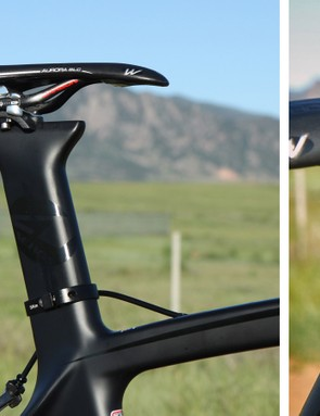 The aero-profile seatpost looks cool and the adjustable cradle is a nice touch. That said, we couldn't get the saddle far back enough even with a modest 5cm setback