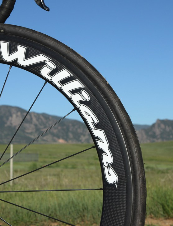 Williams Cycling's 58mm-deep carbon clinchers are noticeably speedy but also quite susceptible to crosswinds. Front-end stability was occasionally lacking, particularly on very fast downhills