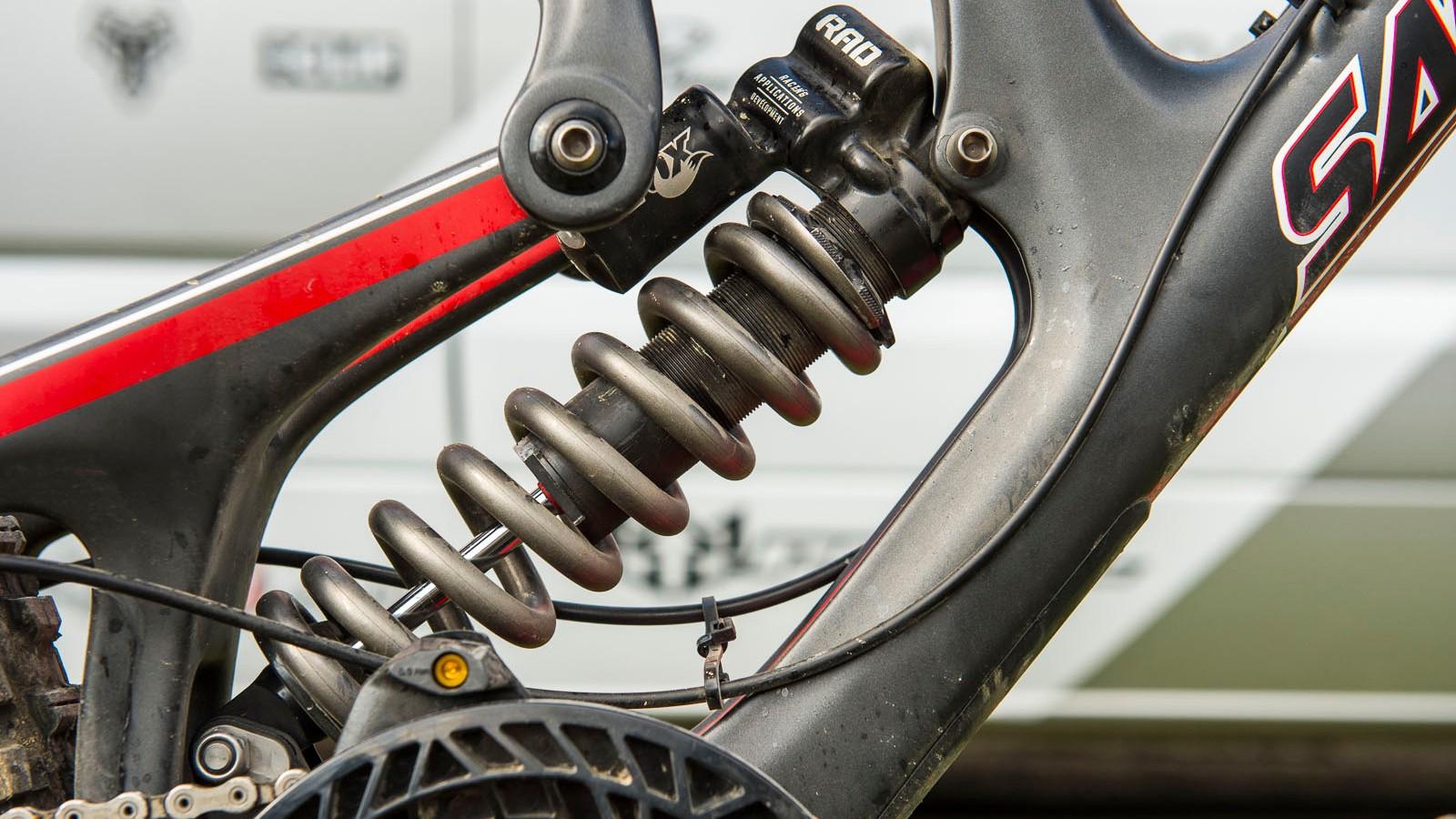 The RAD shock mounted in Josh Bryceland's race-winning Santa Cruz V10. The RAD already has a good few race wins under its belt