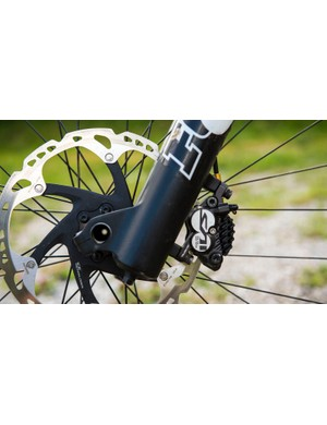 The standard 40 lowers feature a direct post mount to 203mm rotor, so no adaptors needed. We like how the RAD fork looks totally normal until it's taken apart