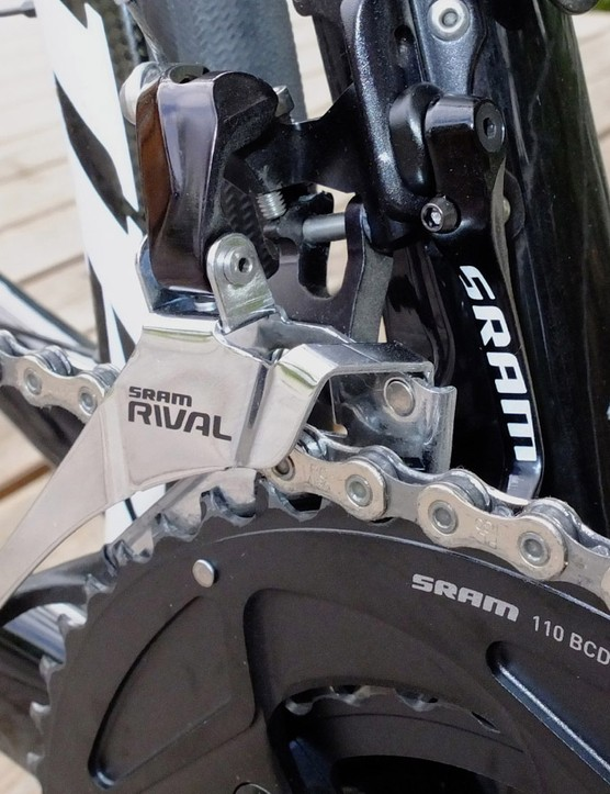 SRAM's 'Yaw' front derailleur, which requires careful set-up, but no trim for any gear combination, is now on Rival