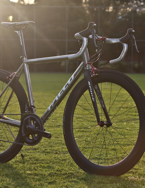 The Falco Eleonora is a Chinese made Titanium bicycle