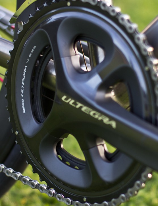 The semi compact 52-36T Ultegra crankset provides adequate gearing for steep climbs and opening up on the flats