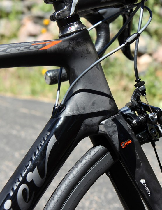 The key structural upgrade to the Wilier Triestina Zero.7 is the new dropped down tube, which effectively reinforces the lower head tube area for a claimed boost in front-end stiffness relative to the previous model