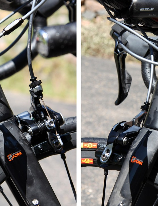 Since the down tube now wraps partially around the fork crown, the fork now has to be rotated in order to access the front brake hardware