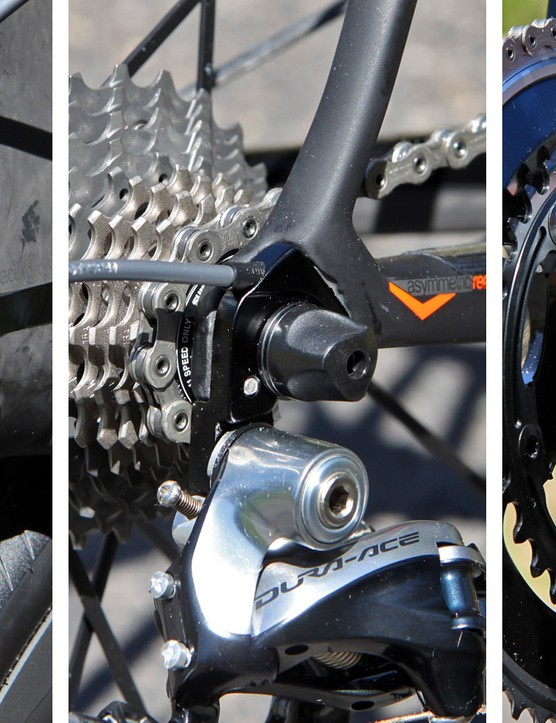 While the previous Wilier Triestina Zero.7's convertible routing used external cable paths for mechanical drivetrains, the new system is fully internal for either cable-actuated or electronic systems via a set of interchangeable ports