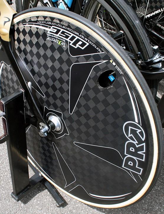 Wiggins rides a Pro TeXtreme rear disc wheel